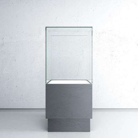 Leeg glas showcase voor tentoonstelling Stockfoto