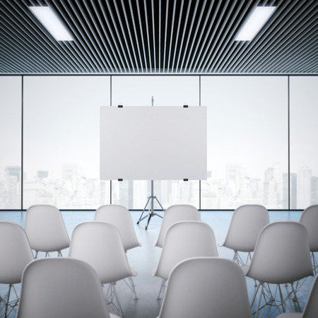 Conference room with blank screen. 3d rendering