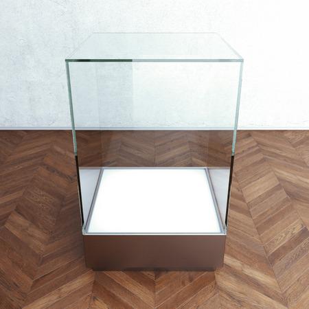 Empty glass showcase for exhibit. 3d rendering photo