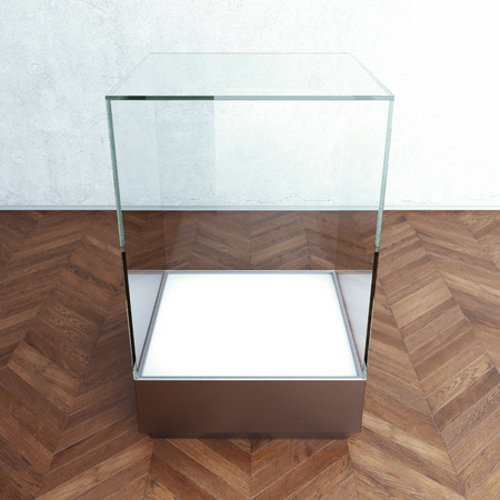 Empty glass showcase for exhibit. 3d rendering photo