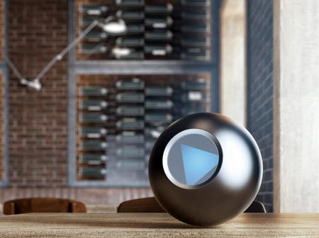 magic ball: Magic 8 Ball on table. 3d rendering Stock Photo