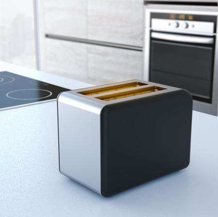 Chrome toaster on the table. 3d rendering photo