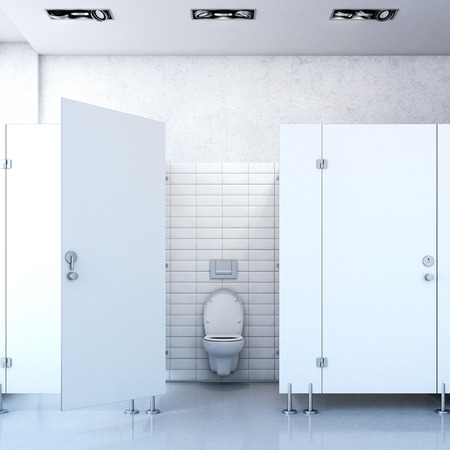 and the air: Public toilet cubicle. 3d rendering