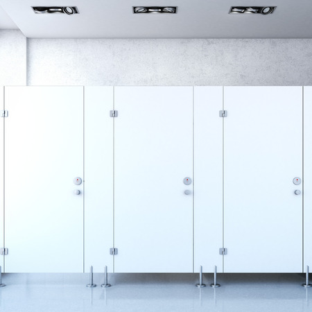public restroom: Closed public toilet cubicles. 3d rendering