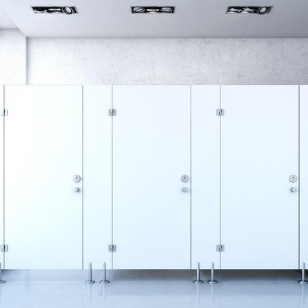 inodoro: Cubículos públicos cerrados. Las 3D Foto de archivo
