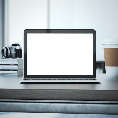 Laptop auf dem Holztisch. 3D-Rendering