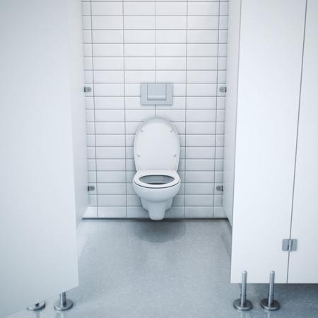 toilet seat: Public toilet cubicle. 3d rendering