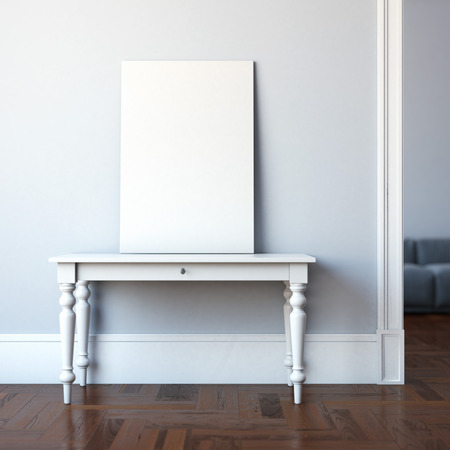 black picture frame: Interior with table and blank canvas. 3d rendering Stock Photo