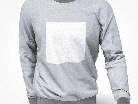 casual hooded top: grey sweatshirt with blank square