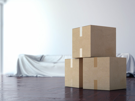 cardboard cutout: Cardboard moving boxes in interior. 3d rendering