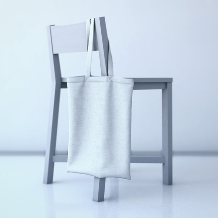reusable: White cotton bag hanging on a chair. 3d rendering Stock Photo
