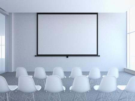 Konferenzraum mit leeren Bildschirm. 3D-Rendering