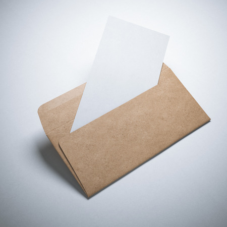 envelope: Kraft paper envelope with blank sheet