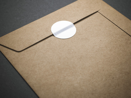 Yellow envelope with blank sticker Stock Photo