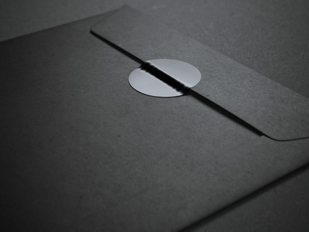 letter envelope: Black envelope with blank sticker