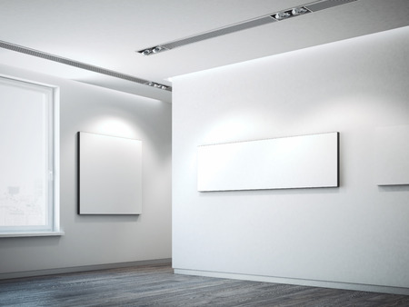 White canvas on a white wall. 3d rendering photo