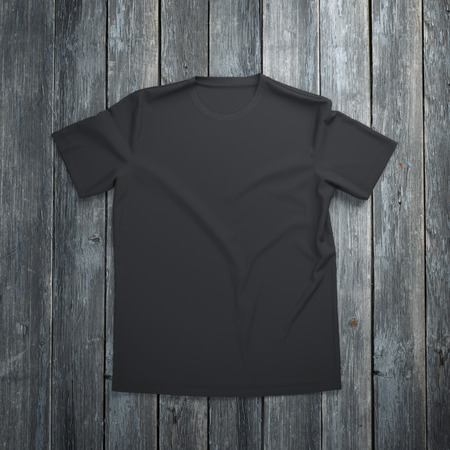 blank t shirt: Black t-shirt on wooden background