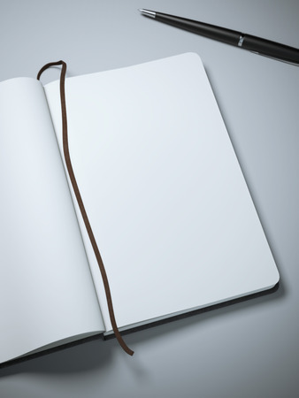 open notebook: Notebook with clear pages and pen Stock Photo