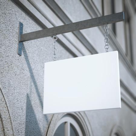 letreros: letrero cuadrado blanco. Representación 3D