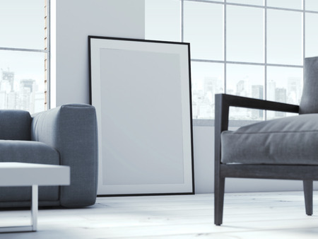 Blank poster in interior. 3d rendering