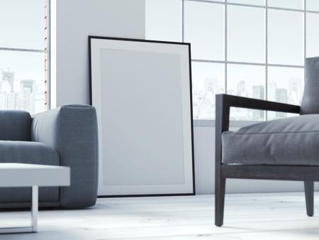 Cartel en blanco en el interior. Las 3D Foto de archivo