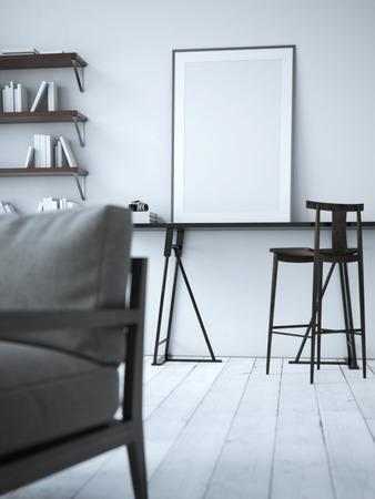 Leeren Plakat auf dem Tisch. 3D-Rendering