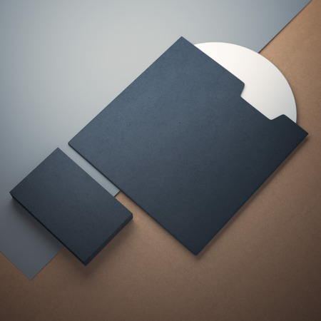 compact disk: Blank compact disk cover  and business cards Stock Photo