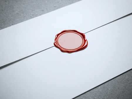 royal mail: Red seal wax on white envelope