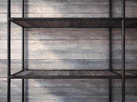 empty warehouse: Empty black metal shelves. 3d rendering