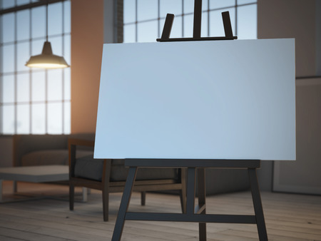 easel with empty canvas . 3d rendering