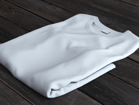 tshirts: White folded t-shirt Stock Photo