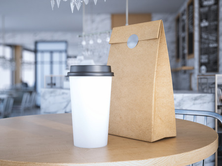 Coffe cup and paper bag on table. 3d rendering Archivio Fotografico