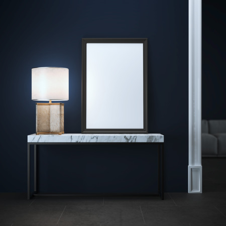 marble background: Table with frame and lamp. 3d rendering Stock Photo