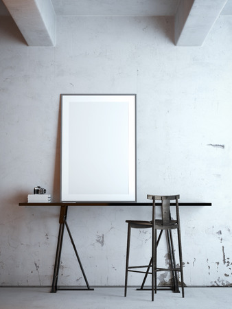 Black table with blank frame. 3d rendering