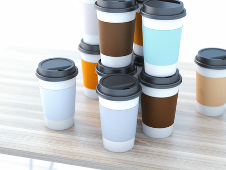 Take away coffee cups Stock Photo