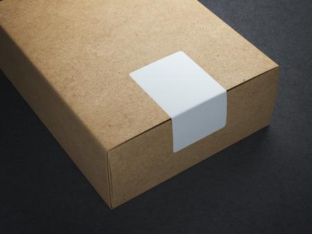 Craft paper box with white sticker Archivio Fotografico