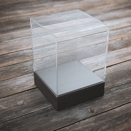expansive: Empty glass showcase for exhibit