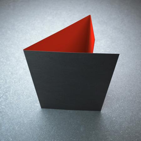空白の黒い三つ折りパンフレット