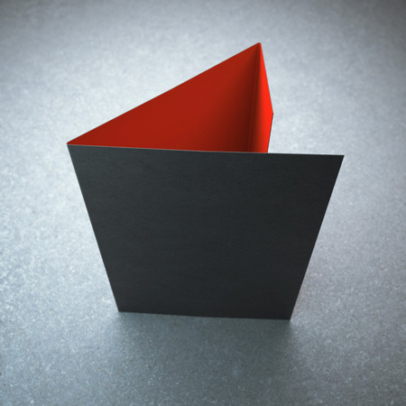 Lege zwarte tri fold brochure Stockfoto