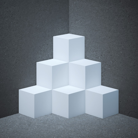 showcase: White showcase with cubes on the concrete Stock Photo