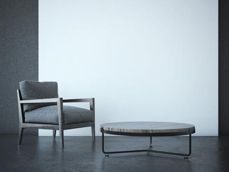 Interni moderni con poltrona e muro bianco. Rendering 3D Archivio Fotografico - 42096501