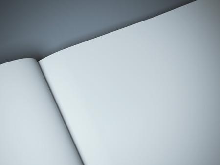 libro abierto: propagación revista en blanco en el fondo gris Foto de archivo