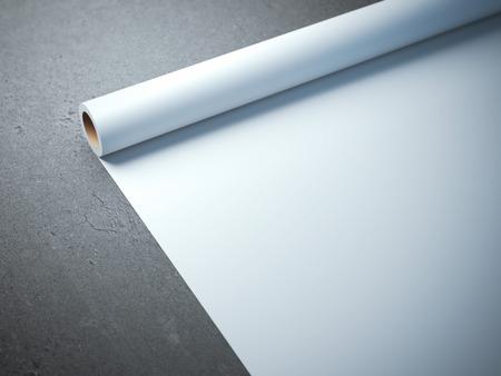 PAPIER A LETTRE: Blanc rouleau de papier sur le sol en béton