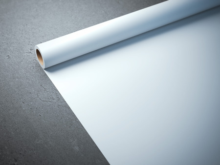 wrappings: White paper roll on the concrete floor Stock Photo