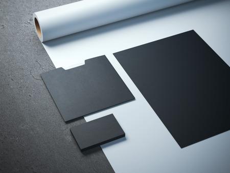branding: Black branding mockup on the white paper roll