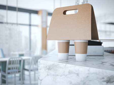 packaging design: Coffee Holder on the table in cafe. 3d rendering