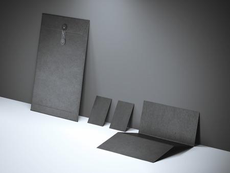 コンクリート壁の近く黒ブランド モックアップ