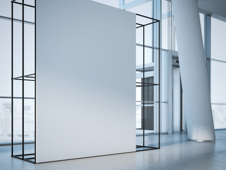 エレベーターのあるオフィスのインテリアに白い旗。3 d レンダリング 写真素材