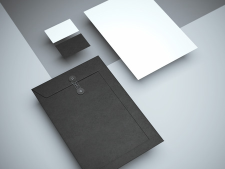 회색 스튜디오에서 현대 브랜딩 모형. 3d 렌더링 스톡 콘텐츠