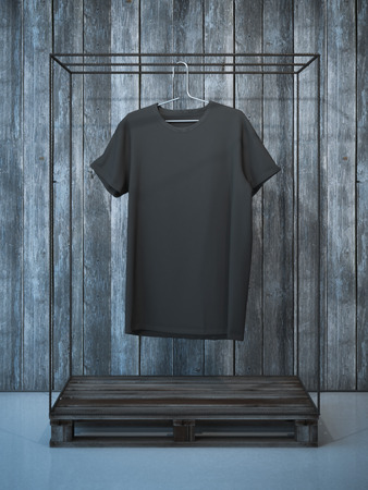 Blank black t-shirt on ancient hanger. 3d rendering Stock Photo